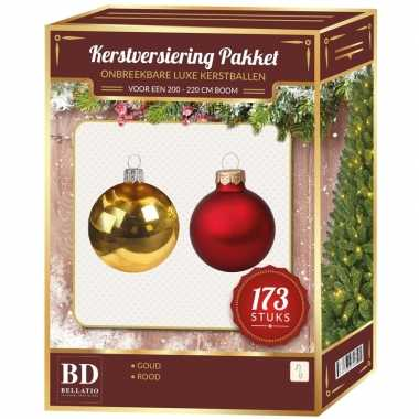 Kerstballen en kerstversiering set voor 210 cm boom rood/goud