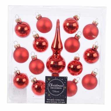 Kerstballen en piek pakket voor mini kerstboom rood 15 stuks