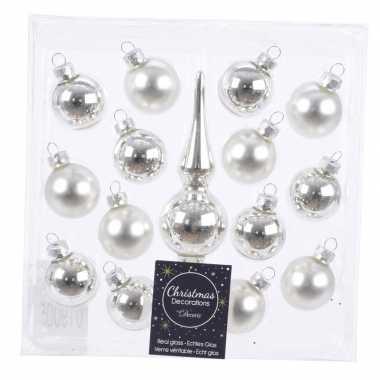 Kerstballen en piek pakket voor mini kerstboom zilver 15 stuks