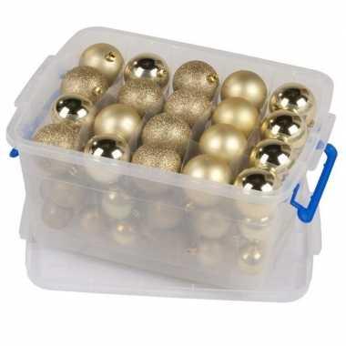Kerstballen goud in box kerstboom decoratie 70 stuks