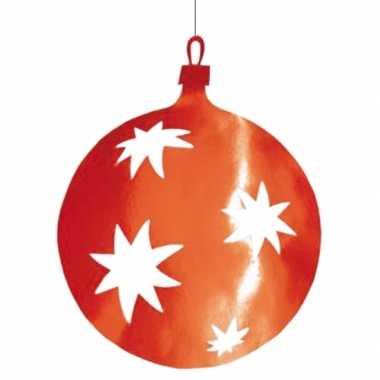 Kerstballen hangdecoratie rood 40 cm