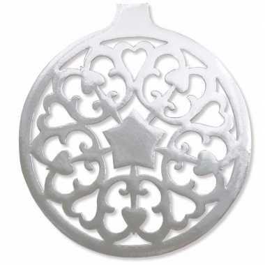 Kerstballen hangdecoratie zilver 32 cm