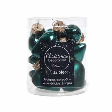 Kerstballen hartjes smaragd groen 4,5 cm
