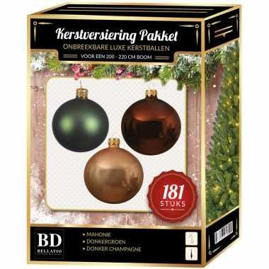 Kerstballen met piek set champagne-bruin-groen voor 210 cm kerstboom