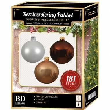 Kerstballen met piek set donker champagne-wit-bruin voor 210 cm kerstboom
