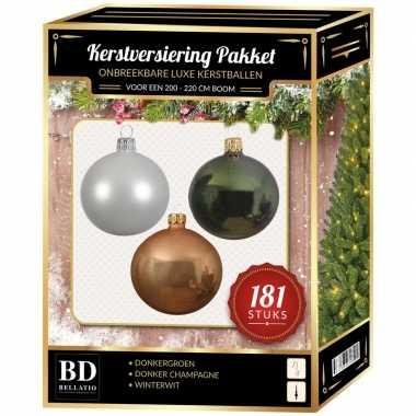 Kerstballen met piek set donker champagne-wit-donkergroen voor 210 cm kerstboom