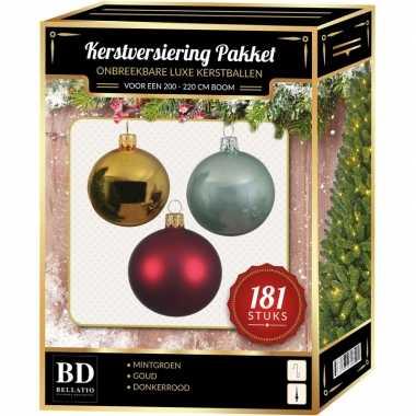 Kerstballen met piek set goud-rood-mintgroen voor 210 cm kerstboom