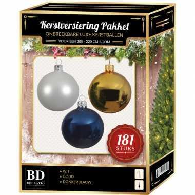 Kerstballen met piek set goud-wit-blauw voor 210 cm kerstboom
