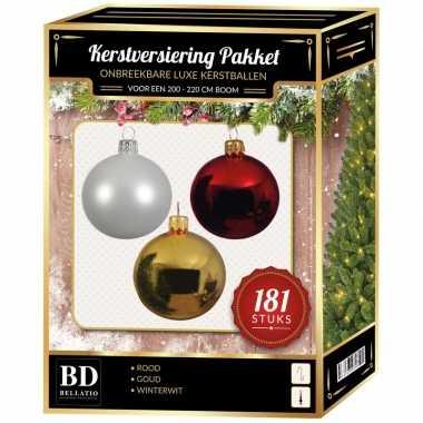 Kerstballen met piek set goud-wit-rood voor 210 cm kerstboom