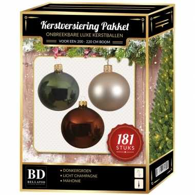 Kerstballen met piek set licht champagne-bruin-groen voor 210 cm kerstboom