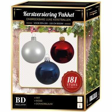 Kerstballen met piek set wit-blauw-rood voor 210 cm kerstboom