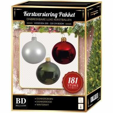 Kerstballen met piek set wit-donkerrood-groen voor 210 cm kerstboom
