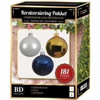 Kerstballen met piek set wit-goud-blauw voor 210 cm kerstboom
