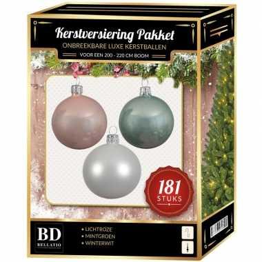 Kerstballen met piek set wit-mintgroen-lichtroze voor 210 cm kerstboom