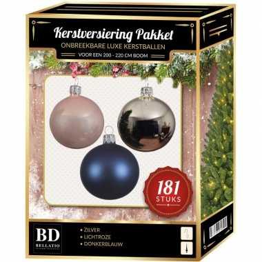 Kerstballen met piek set zilver-roze-blauw voor 210 cm kerstboom