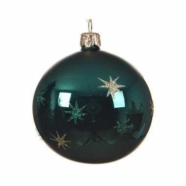 Kerstballen met sterretjes smaragd groen 8 cm