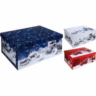 Kerstballen opbergdoos blauw 49 cm