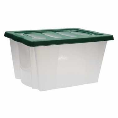 Kerstballen opbergen box met deksel groen 10099735
