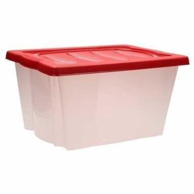Kerstballen opbergen box met deksel rood 10099734