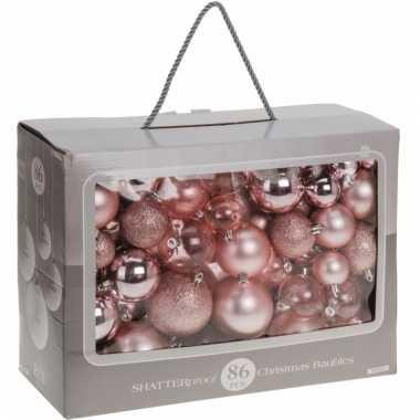 Kerstballen oudroze diverse formaten