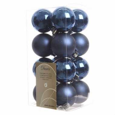 Kerstballen pakket blauw glanzend 4 cm