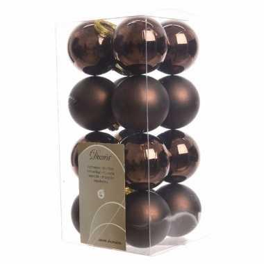 Kerstballen pakket bruin glanzend 4 cm