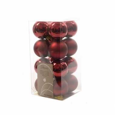 Kerstballen pakket donker rood glanzend 4 cm