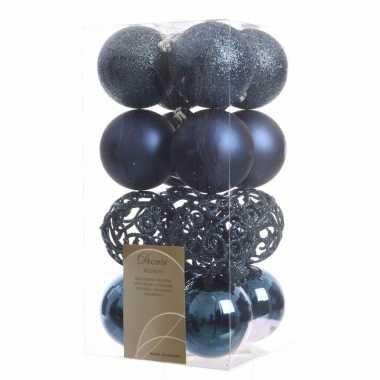 Kerstballen pakket glitter blauw 6 cm