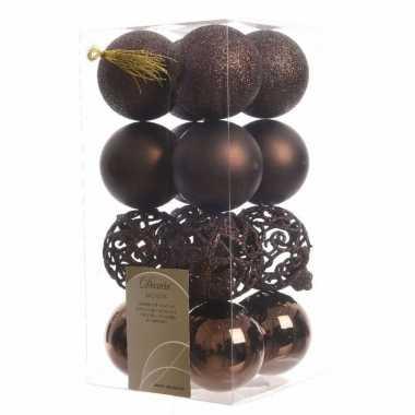 Kerstballen pakket glitter bruin 6 cm
