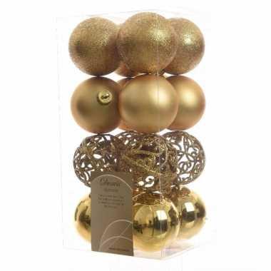 Kerstballen pakket glitter goud 6 cm