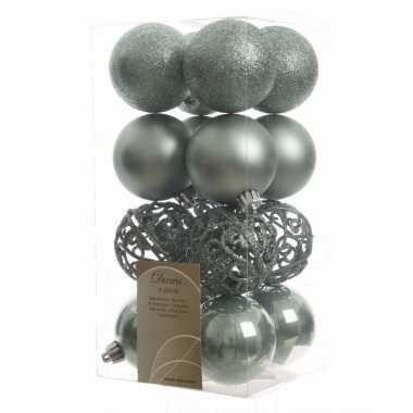 Kerstballen pakket glitter mint 6 cm