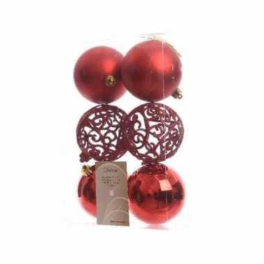 Kerstballen pakket glitter rood 8 cm