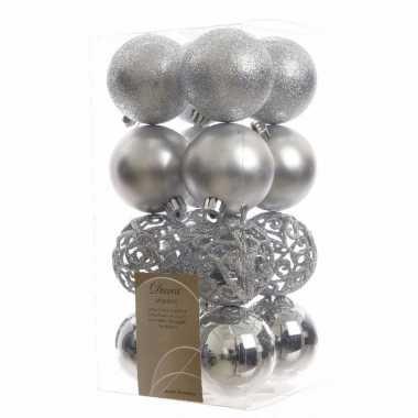 Kerstballen pakket glitter zilver 6 cm