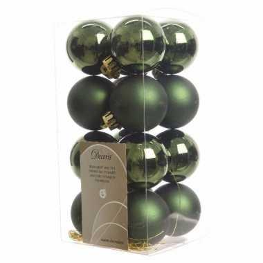 Kerstballen pakket groen glanzend 4 cm
