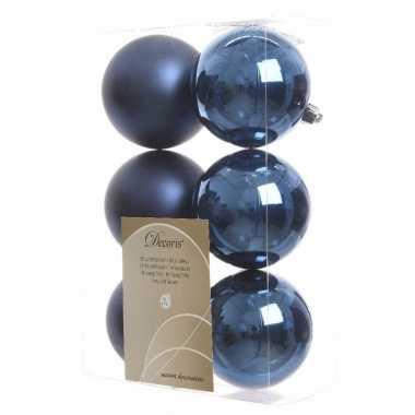 Kerstballen pakket mat blauw 8 cm