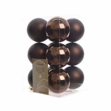Kerstballen pakket mat bruin 6 cm
