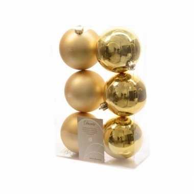 Kerstballen pakket mat goud 8 cm