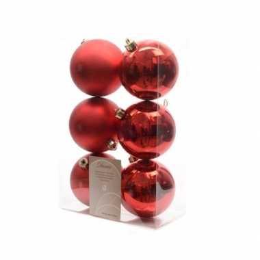 Kerstballen pakket mat rood 8 cm