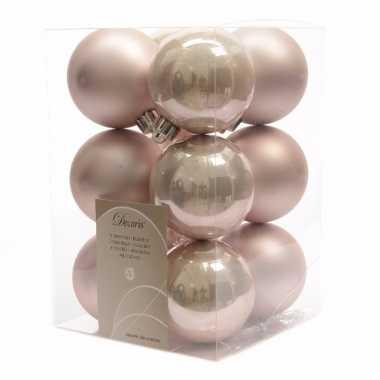 Kerstballen pakket mat roze 6 cm