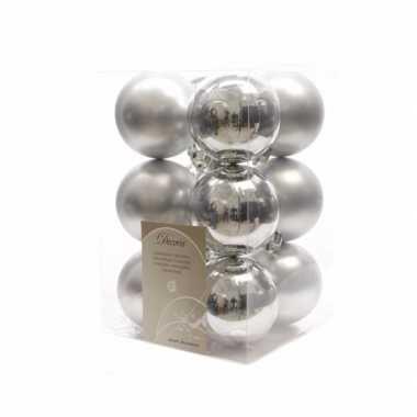 Kerstballen pakket mat zilver 6 cm