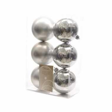 Kerstballen pakket mat zilver 8 cm