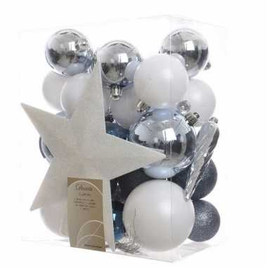 Kerstballen Pakket Met Piek Blauw Wit Goedkope Kerstballen Nl
