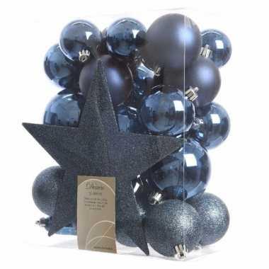 Kerstballen Pakket Met Piek Blauw Goedkope Kerstballen Nl