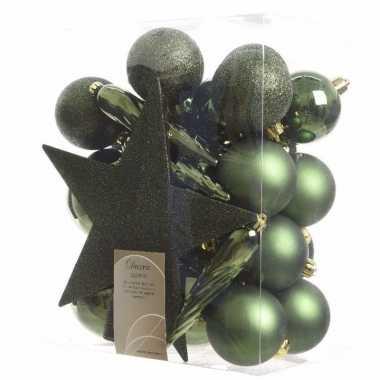 Kerstballen pakket met piek groen