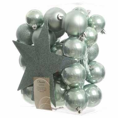 Kerstballen pakket met piek mintgroen