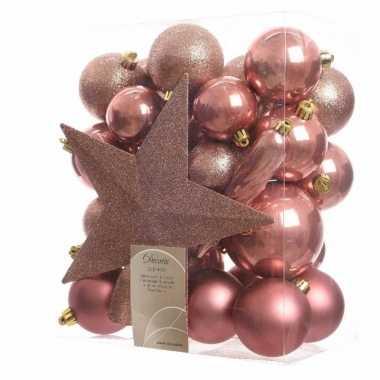 Kerstballen pakket met piek roze