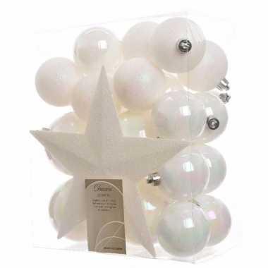 Kerstballen pakket met piek wit
