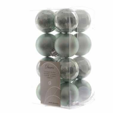 Kerstballen pakket mint glanzend 4 cm