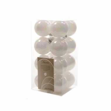 Kerstballen pakket wit glanzend 4 cm