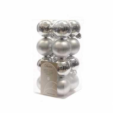 Kerstballen pakket zilver glanzend 4 cm
